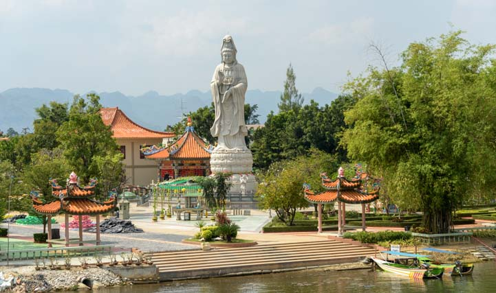 Buddha statue at bridge over the River Kwai Kanchanaburi Thailand