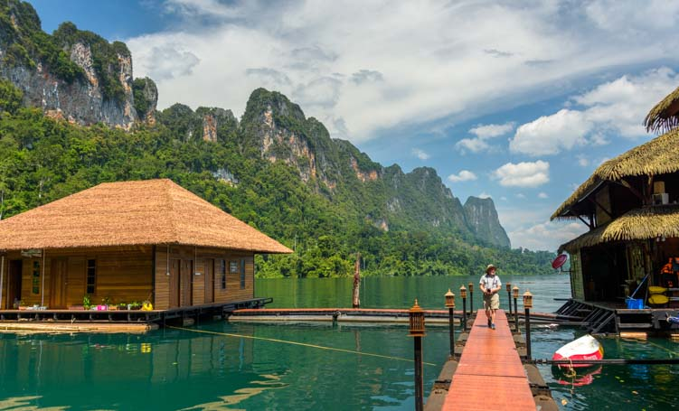 Docks at Greenery Panvaree Floating Raft House Resort Cheow Lan Lake Chiewlarn Lake Khao Sok National Park Thailand