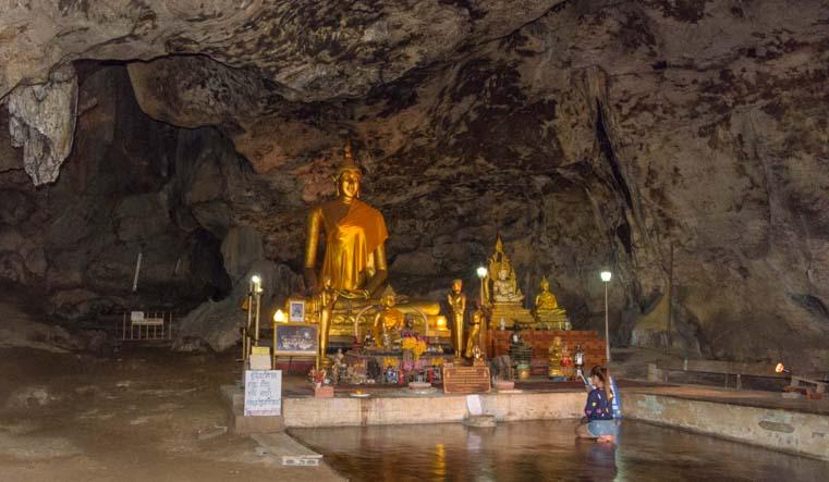Buddha statue at Death Railway cave Kanchanaburi Thailand