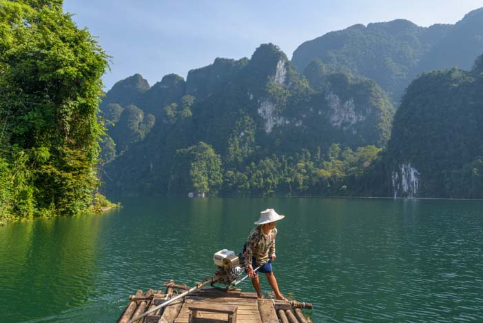 Bamboo raft tour Khao Sok National Park Jungle Trek Thailand