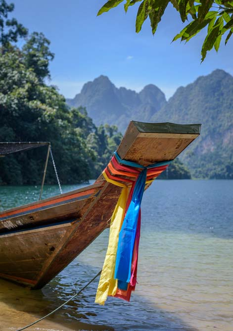 Longtail Boat Cheow Lan Lake Khao Sok National Park Greenery Panvaree Floating Raft House Tour