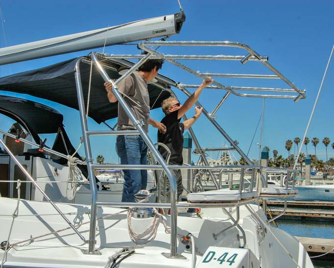 Solar panel arch installation on Hunter 44 sailboat
