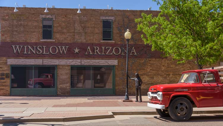 Standin' on the corner in Winslow Arizona Route 66