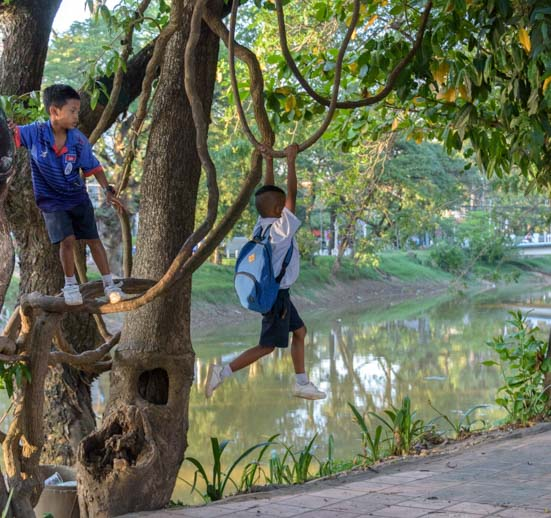 Cambodian school children playing in Siem Reap