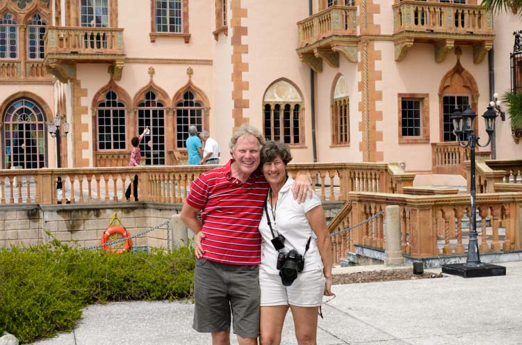 Tourists at The Ringling mansion Sarasota Florida