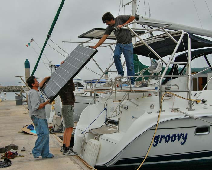 Affordable marine Solar panel installation on sailboat Hunter 44