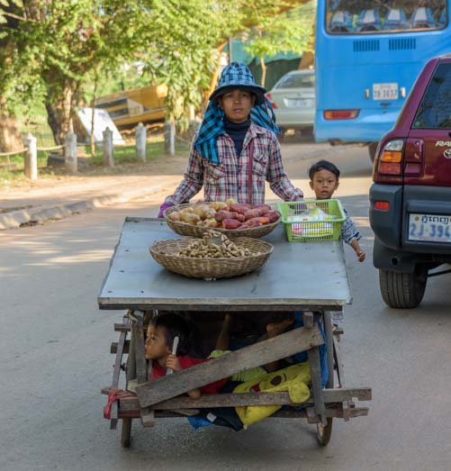 Rolling cart in Siem Reap Angkor Cambodia