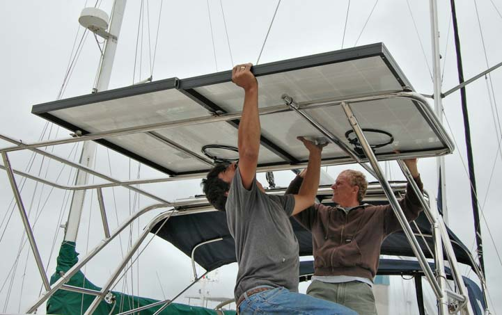 Installing solar panels on an arch on sailboat (Hunter 44) with Alejandro Ulloa Baja Naval Ensenada Mexico
