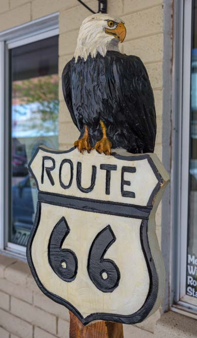 Eagle on Route 66 sign Winslow Arizona