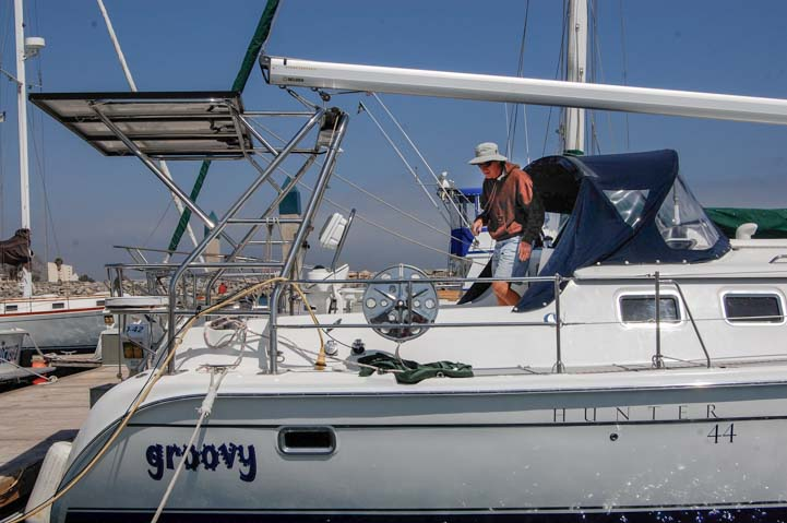 Solar panels installed on arch on Hunter 44 sailboat