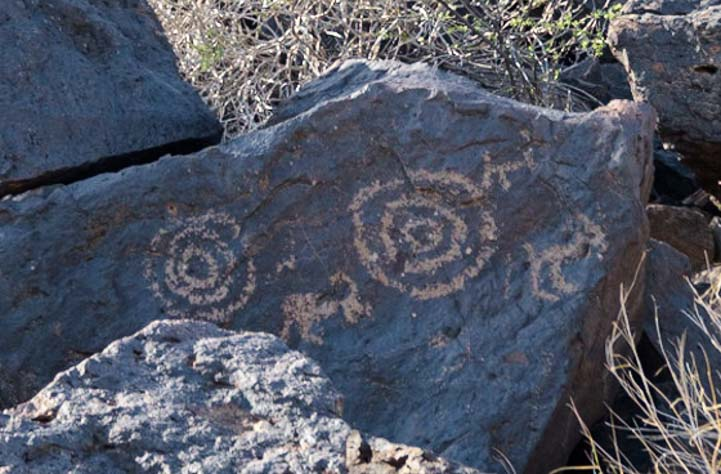 Bullseyes and animals Painted Rock Petroglyphs Gila Bend Arizona