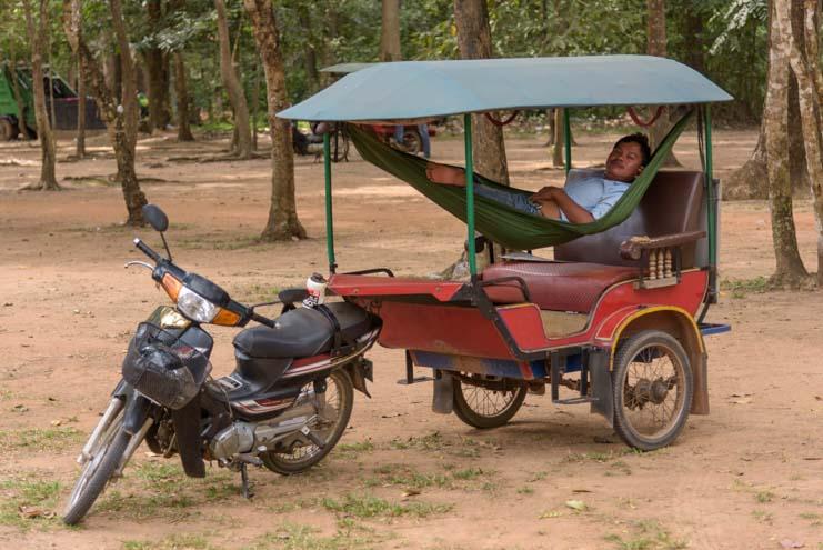 Hammock in a tuk-tuk at Angkor Wat temple Siem Reap Angkor Cambodia