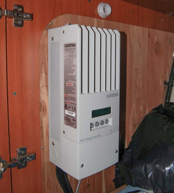 Xantrex solar charge controller installed in sailboat locker