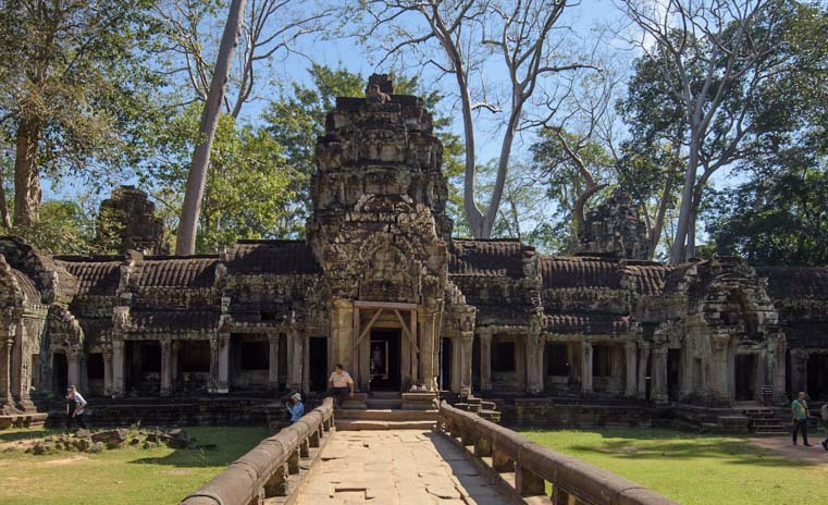 Entrance to Ta Prohm temple Siem Reap Angkor Cambodia