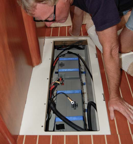 Two 4D AGM batteries in bilge of sailboat