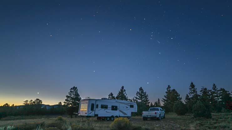 Orion constellation over RV Utah