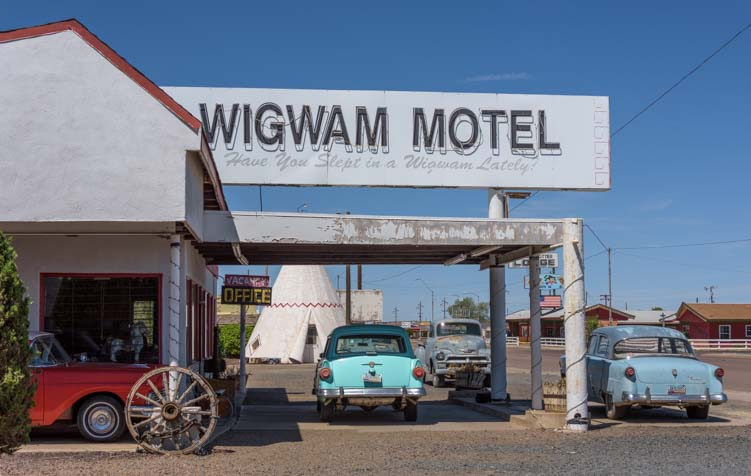 Wigwam Motel antique cars Route 66 Holbrook Arizona