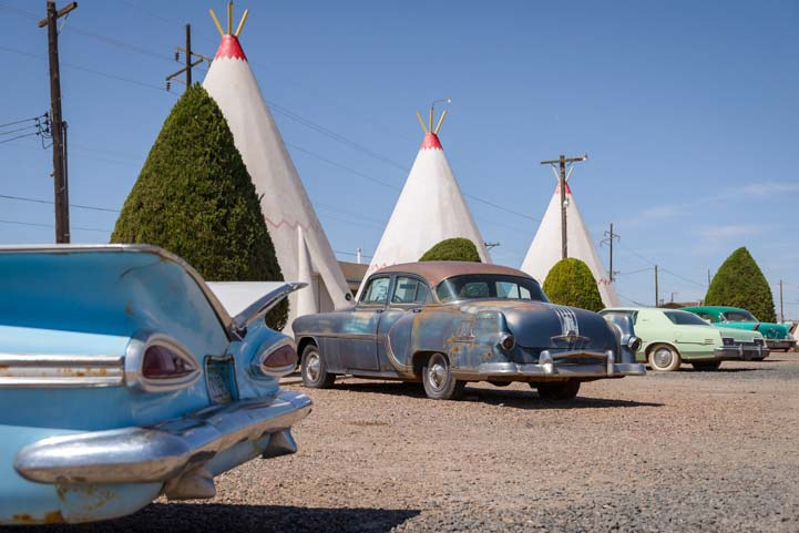 Antique cars Wigwam Motel Holbrook Arizona Route 66
