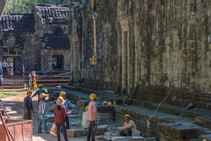 Reconstruction at Ta Prohm ruins Siem Reap Angkor Cambodia 2