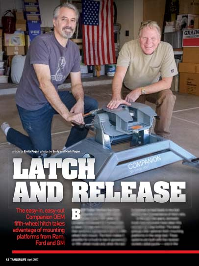 Trailer Life Magazine Latch and Release B&W Companion OEM Fifth Wheel Hitch article