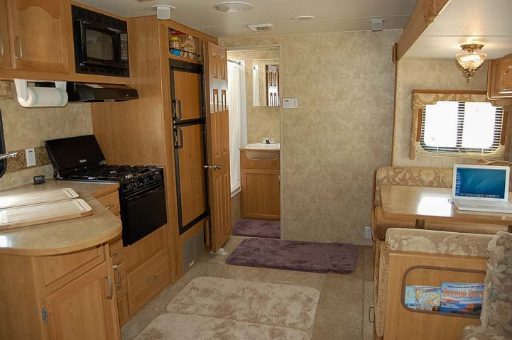 Travel trailer interior first full-time RV home