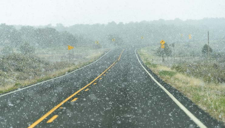 Snow on road Navajo Nation Arizona