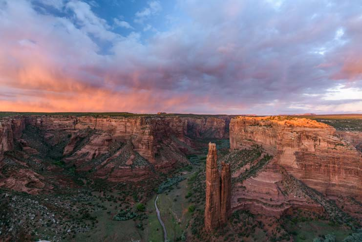 Sunset spider rock Canyon de Chelly National Monument Arizona