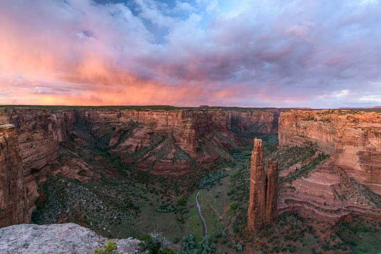 Spider Rock sunset Canyon de Chelly National Monument Arizona RV trip