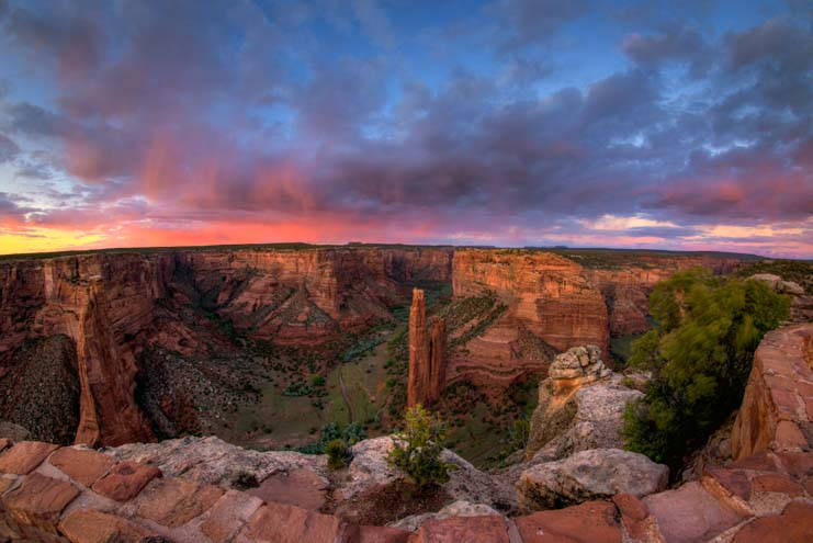 Colorful sunset Spider Rock overlook Canyon de Chelly National Monument Arizona
