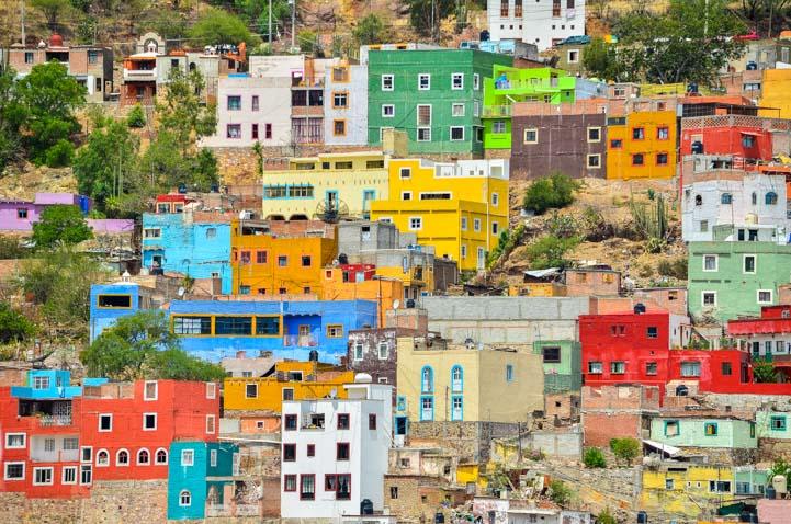 Colorful houses Guanajuato Mexico