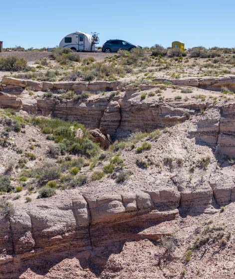 RV at Blue Mesa Overlook Petrified Forest National Park Arizona