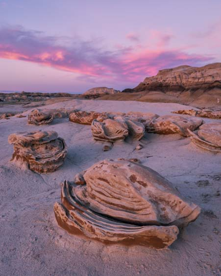 Eggs at sunset Bisti-De-Na-Zin Wilderness Bisti Badlands New Mexico