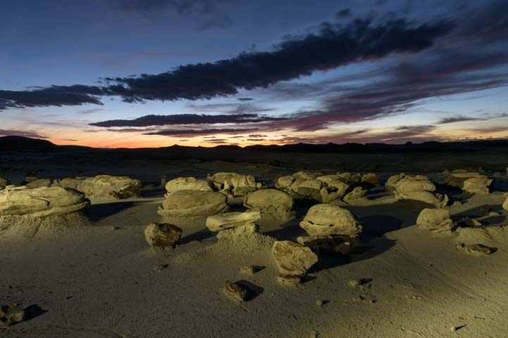 721 Cracked eggs at night Bisti De-Na-Zin Wilderness New Mexico
