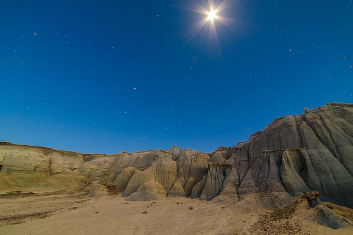 Full moon starburst Bisti-De-Na-Zin Wilderness Bisti Badlands New Mexico