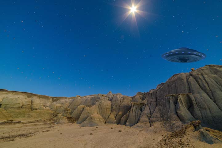 Full moon starburst Bisti-De-Na-Zin Wilderness Bisti Badlands New Mexico with UFO