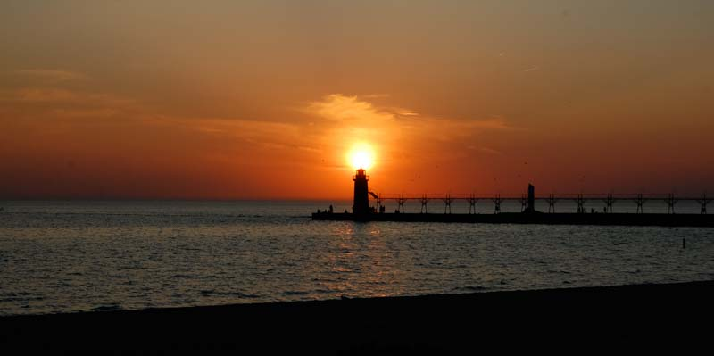 South Haven Lighthouse Michigan at sunset
