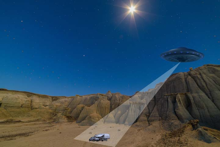 UFO Full moon starburst Bisti-De-Na-Zin Wilderness Bisti Badlands New Mexico