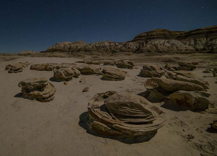 Stars at cracked eggs Bisti Badlands De-Na-Zin Wilderness New Mexico