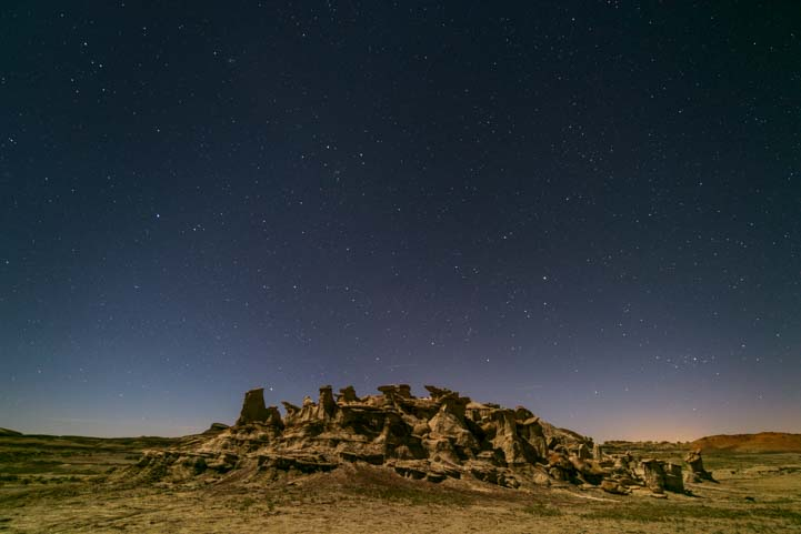 Stars over hoodoos Bisti De-Na-Zin Wilderness New Mexico