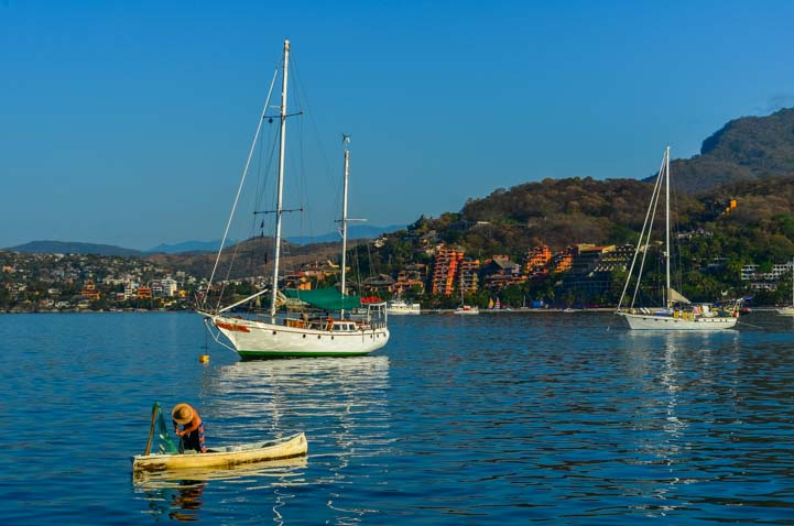 Sailboats anchored at Las Gatas Beach Zihuatanejo Mexico