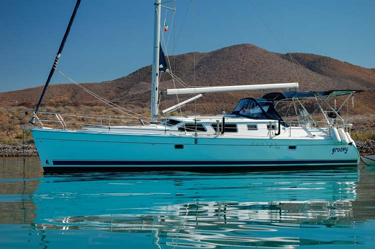 Hunter 44DS sailboat Groovy anchored at Isla Coronado Sea of Cortez Baja California Mexico