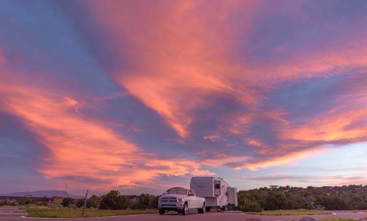 Fifth wheel trailer RV at sunset