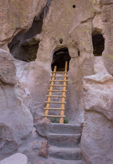 Ladder to cliff dwelling Bandelier National Monument New Mexico