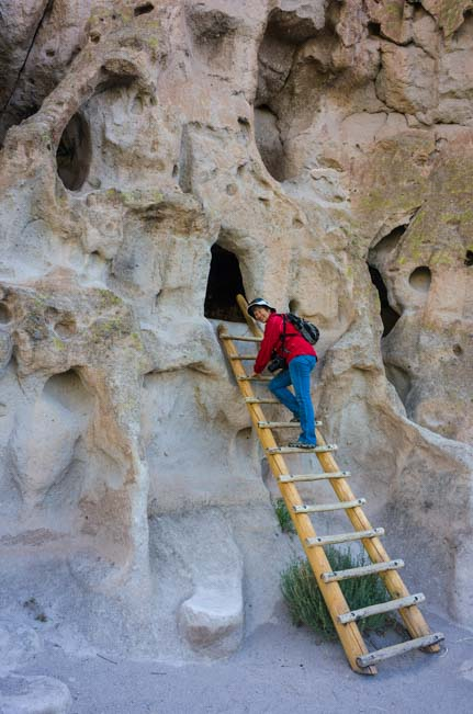 Ladder climb Bandelier National Monument New Mexico
