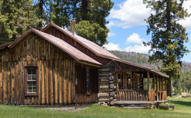 Log cabin Valles Caldera National Preserve New Mexico