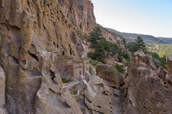 Rebuilt cliff dwellings Bandelier National Monument New Mexico