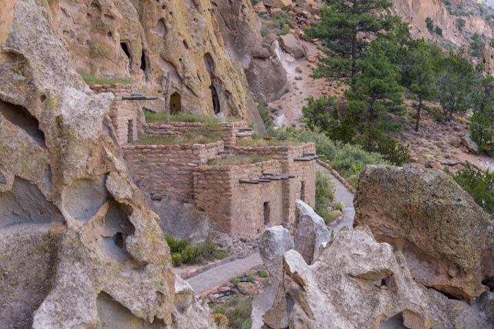 Renovated cliff dwellings Bandelier National Monument New Mexico