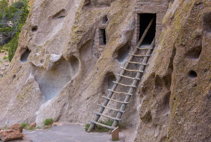Ladder to cliff dwellings Bandelier National Monument New Mexico