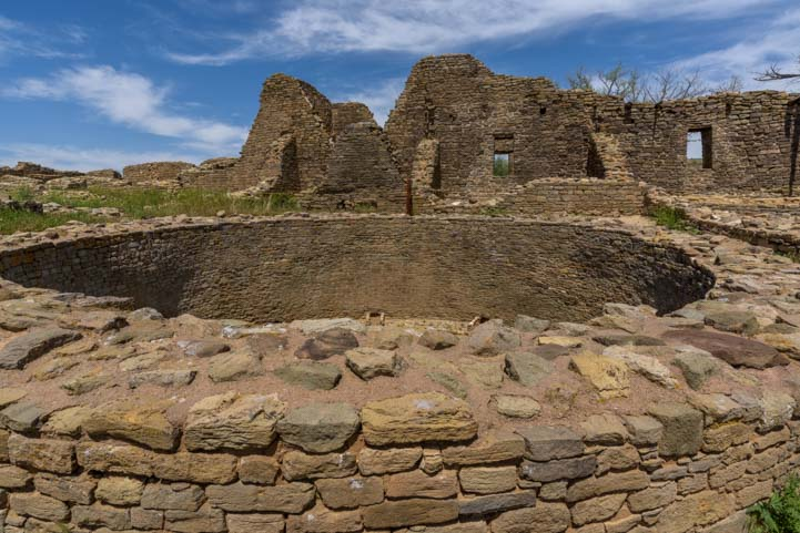 Round walls at Aztec Ruins National Monument New Mexico