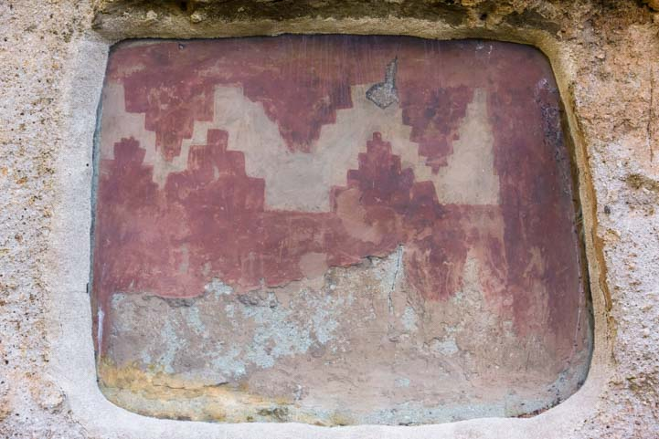 Fresco art pattern Long House Bandelier National Monument New Mexico